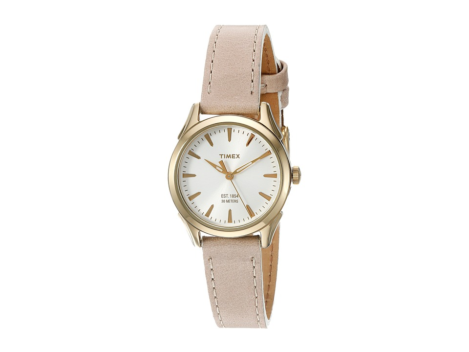 Timex Chesapeake Leather Strap White/Gold/Tan Watches