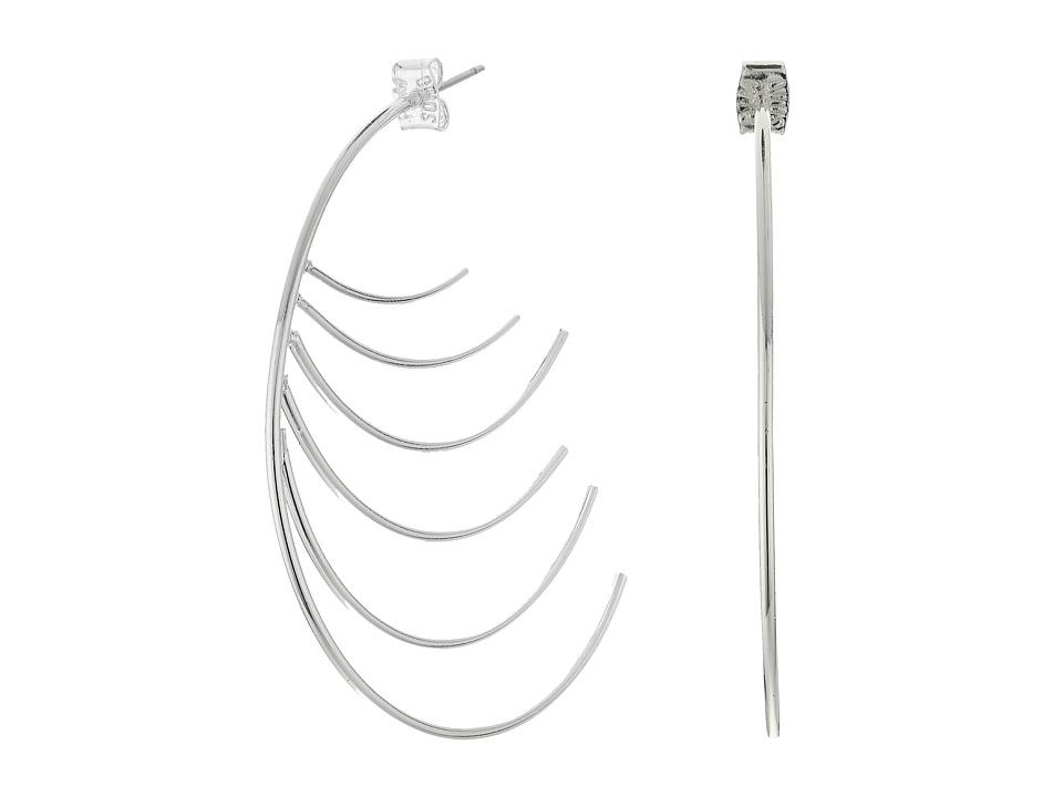Robert Lee Morris Silver Curved Hoop Earrings Shiny Silver Earring