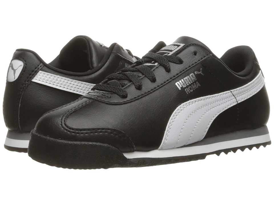 Puma Kids Roma Basic PS (Little Kid/Big Kid) (Puma Black/Puma White/Puma Silver) Boys Shoes