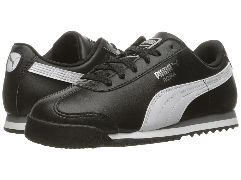 Puma Kids Roma Basic PS (Little Kid/Big Kid) (Puma Black/Puma White/Puma Silver) Boys Shoes