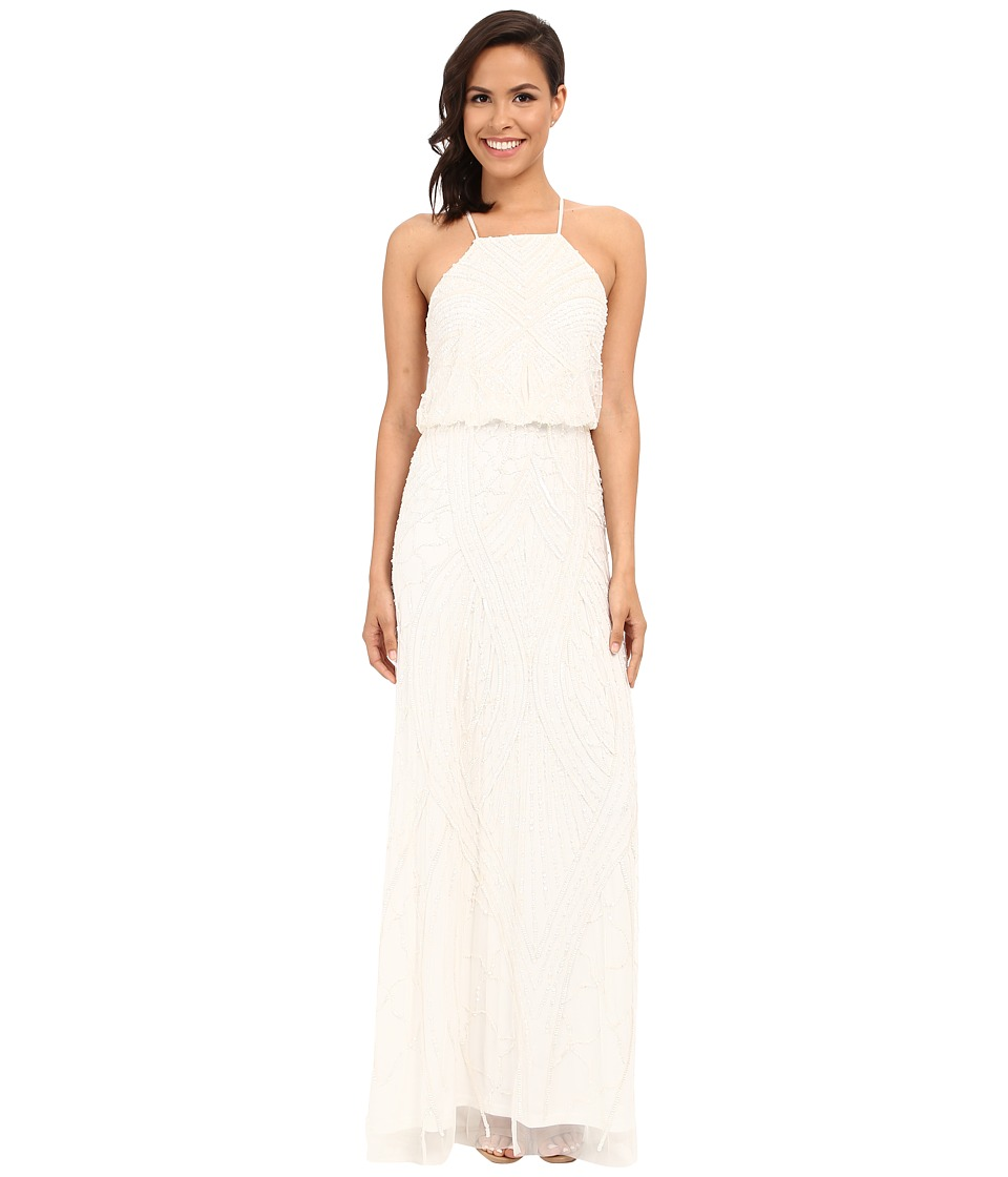 Adrianna Papell Halter Fully Beaded Gown Ivory Womens Dress