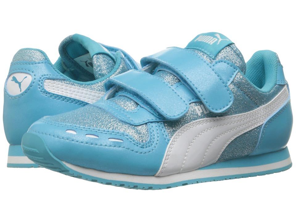 Puma Kids - Cabana Racer Glitter V PS (Little Kid/Big Kid) (Blue Atoll/Puma White) Girls Shoes