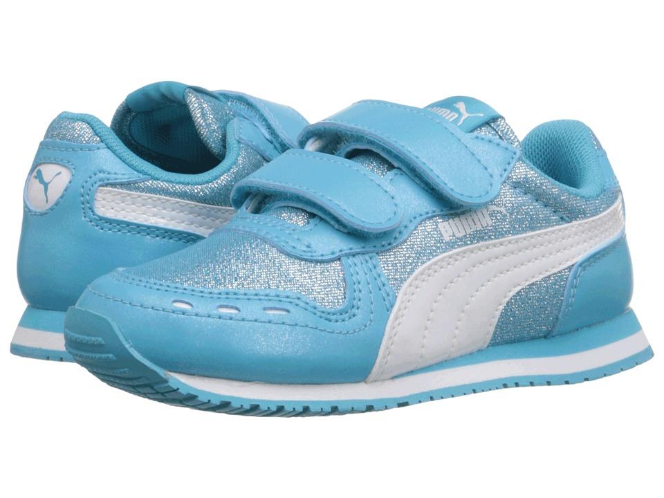 Puma Kids - Cabana Racer Glitter V Inf (Toddler) (Blue Atoll/Puma White) Girls Shoes
