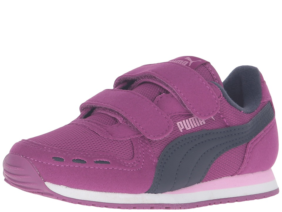 Puma Kids - Cabana Racer Mesh V PS (Little Kid/Big Kid) (Hollyhock/Peacoat) Girls Shoes