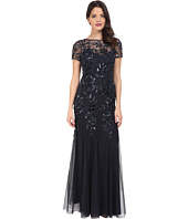 Adrianna Papell - Floral Beaded Godet Gown