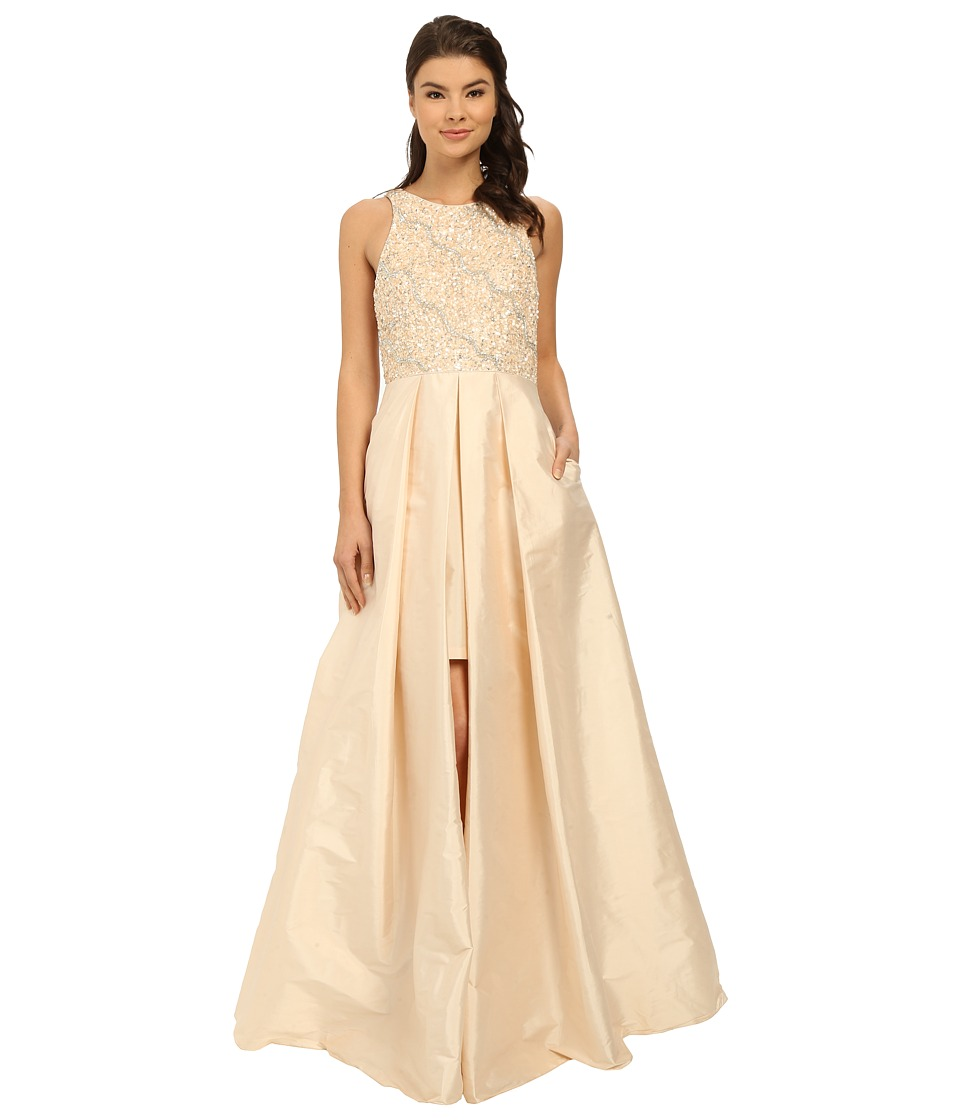 Adrianna Papell Halter with Taffeta Skirt Gown Light Champagne Womens Dress