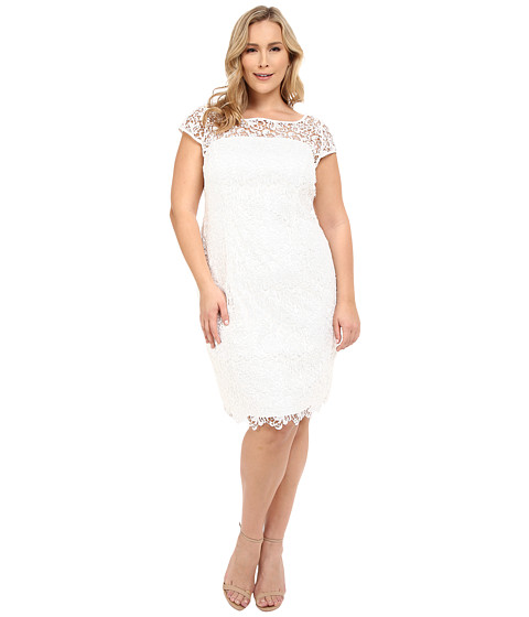 Adrianna Papell - Plus Size Lace Cap Sleeve Dress (White) Women's Dress
