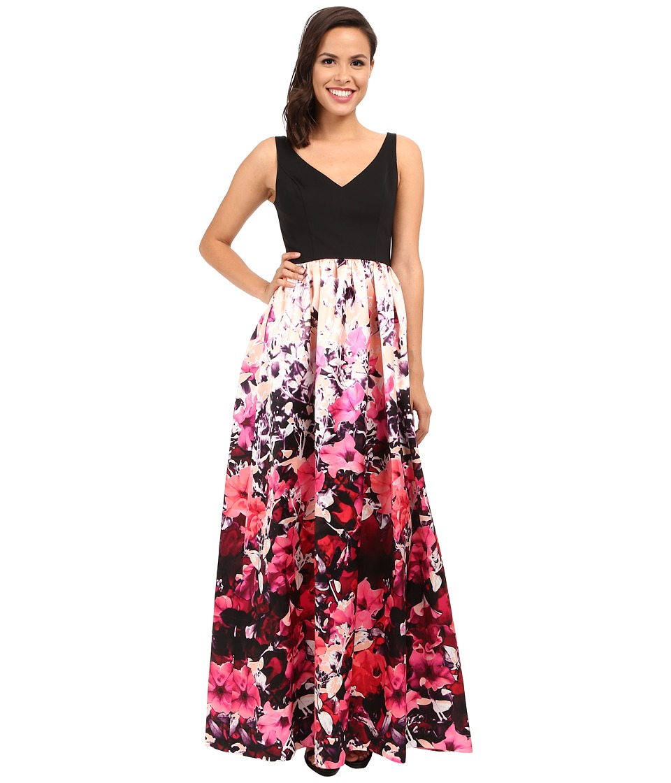 Adrianna Papell Deep V Printed Floral Mikado Dress Pink Multi Womens Dress