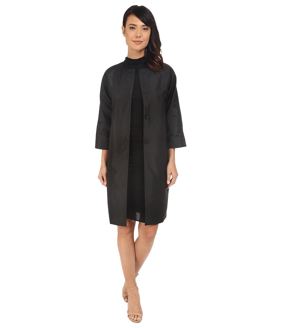 Adrianna Papell Taffeta Long Dolamn Sleeve Jacket Black Womens Coat