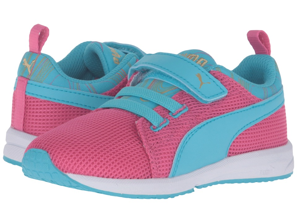 Puma Kids - Carson Runner Marble V Inf (Toddler) (Fandango Pink/Blue Atoll) Girls Shoes