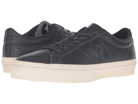 Converse One Star® Mesh Backed Leather Ox - Almost Black/Black/Parchment