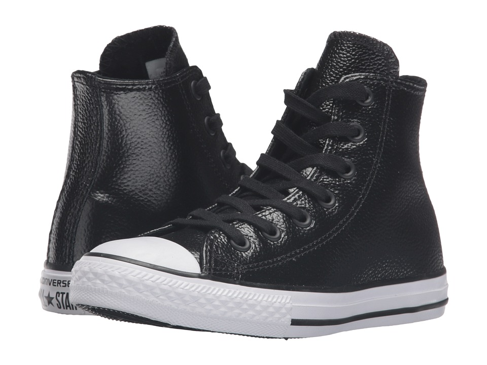 Converse Kids - Chuck Taylor All Star Hi Metallic Leather (Little Kid) (Black/White/Black) Girls Shoes