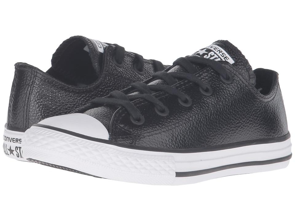Converse Kids - Converse Kids - Chuck Taylor All Star Ox Metallic Leather (Little Kid) (Black/White/Black) Girls Shoes
