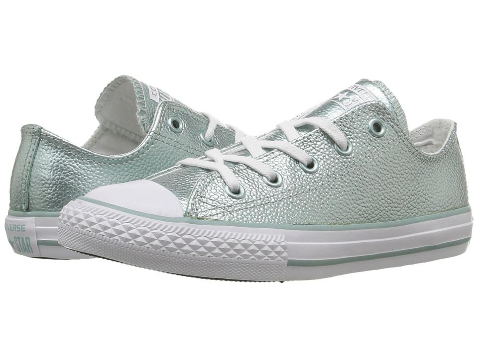 Converse Kids - Converse Kids - Chuck Taylor All Star Ox Metallic Leather (Little Kid) (Metallic Glacier/White/White) Girls Shoes