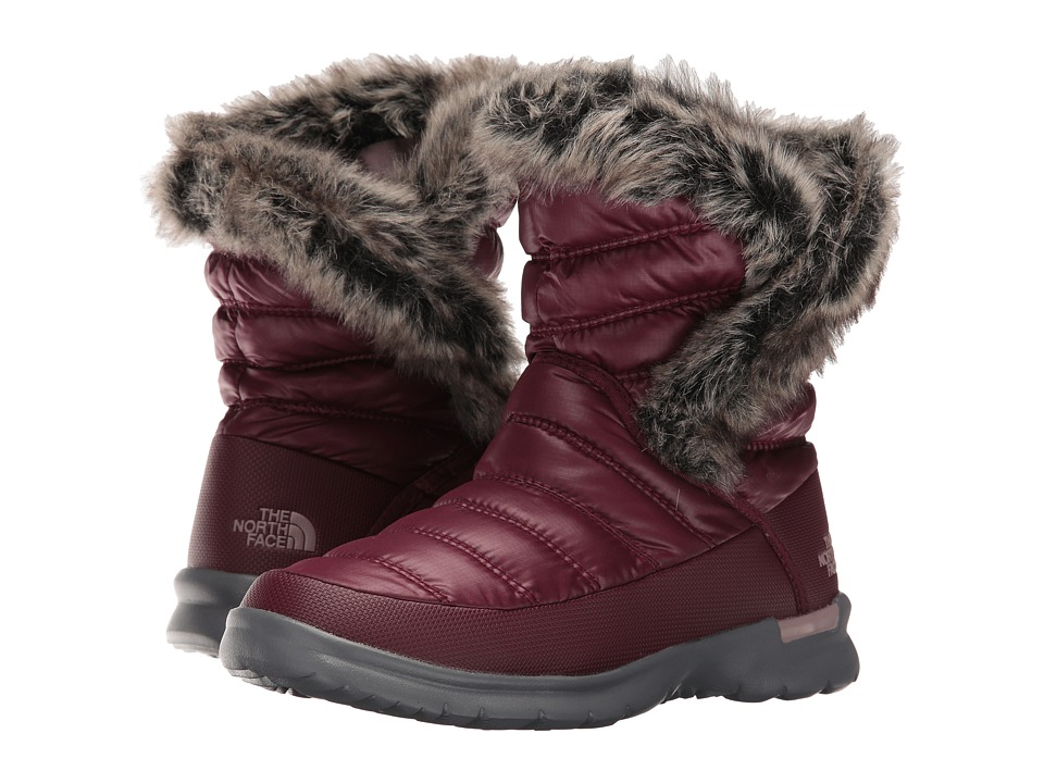 The North Face - ThermoBall Microbaffle Bootie II (Shiny Deep Garnet Red/Quail Grey) Women