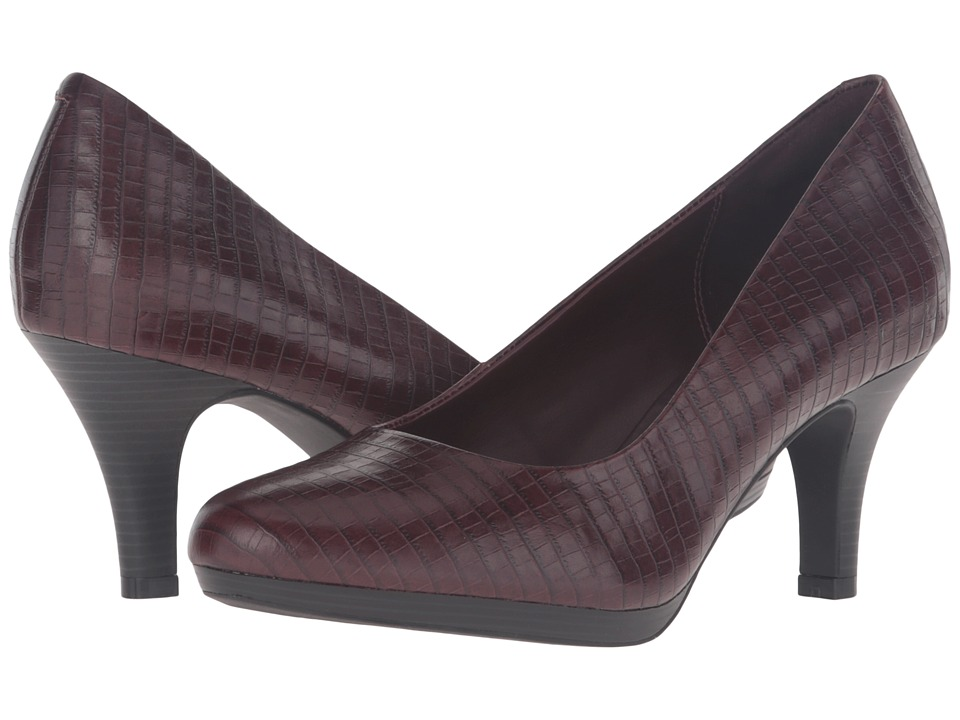 Clarks - Brenna Maple (Burgundy Croc Leather) Women