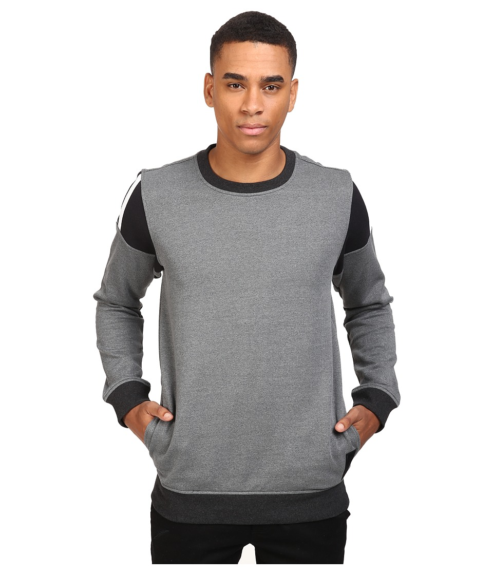 adidas Skateboarding - Elevated Crew Neck (Black Melange/Black/White) Mens Long Sleeve Pullover