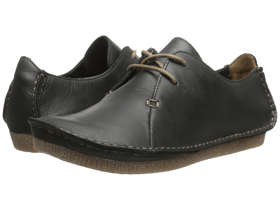 Clarks Janey Mae (Black Leather) Women's Shoes