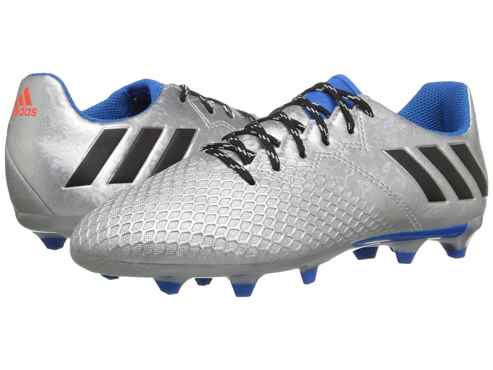 adidas Kids - Messi 16.3 FG Soccer (Little Kid/Big Kid) (Silver Metallic/Core Black/Shock Blue) Kids Shoes