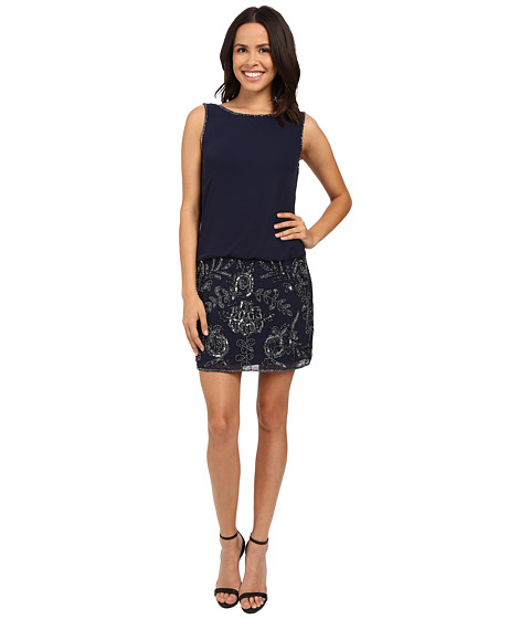 Adrianna Papell Sleeveless Bead Georgette Blouson Cocktail