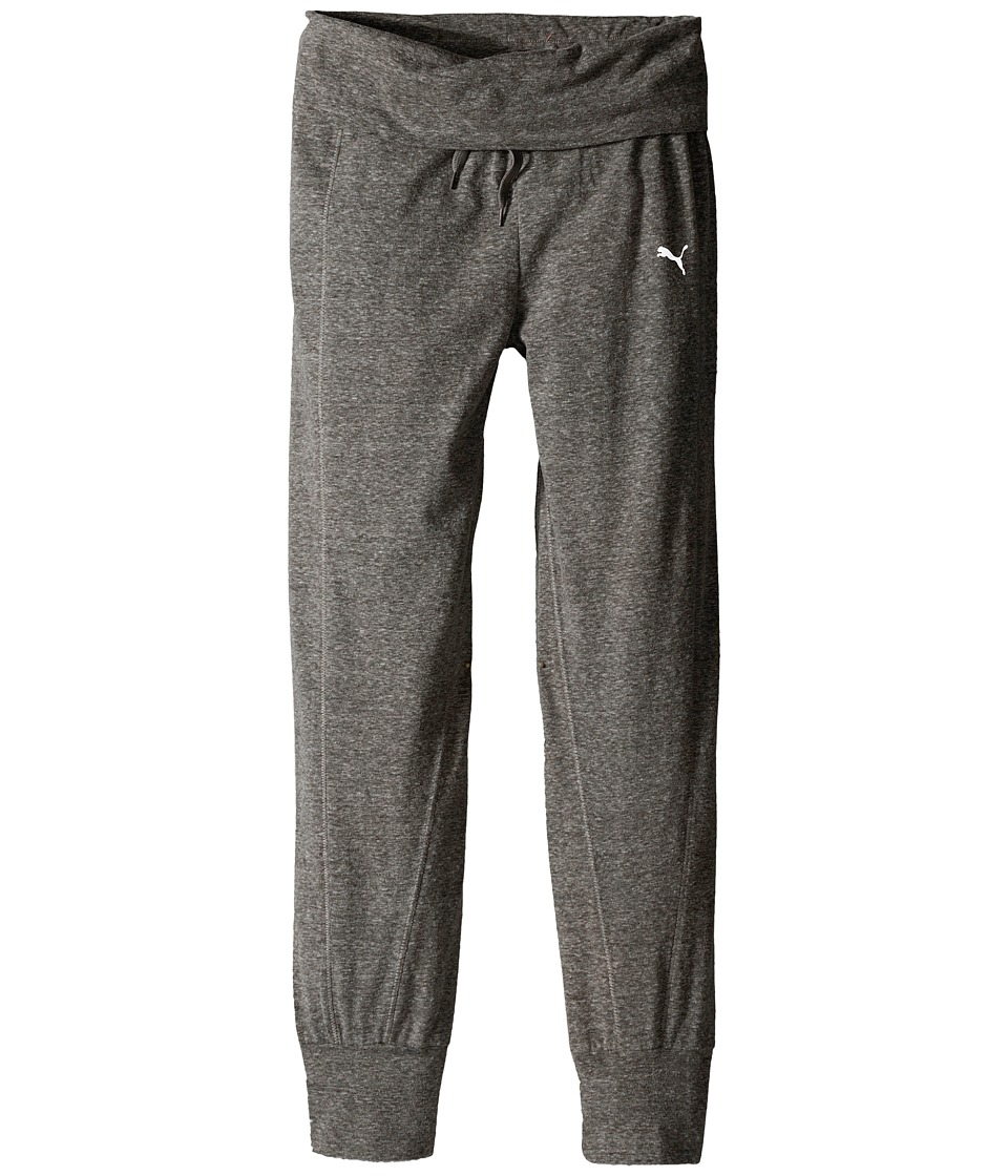 Puma Kids Active Pants w/ Fold Over Waist Big Kids Medium Heather Grey Girls Casual Pants