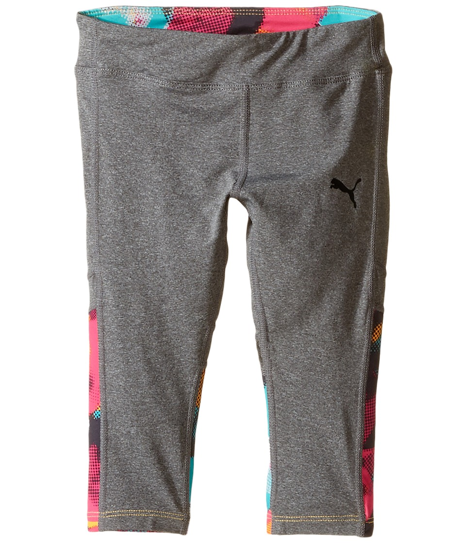 Puma Kids Bubble Active Capris Little Kids Medium Heather Grey Girls Casual Pants