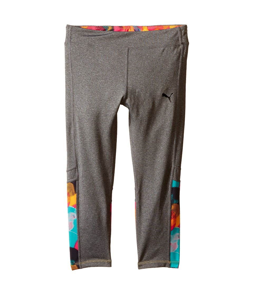 Puma Kids Bubble Active Capris Big Kids Medium Heather Grey Girls Capri