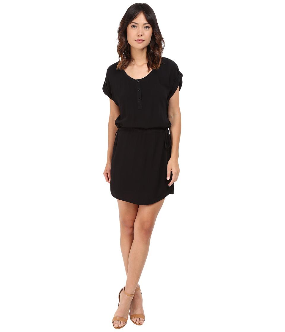 Splendid Rayon Crinkle Gauze Drawstring Dress Black Womens Dress