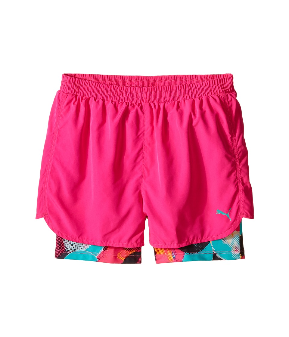 Puma Kids Bubble Running Shorts Big Kids Pink Glo Girls Shorts