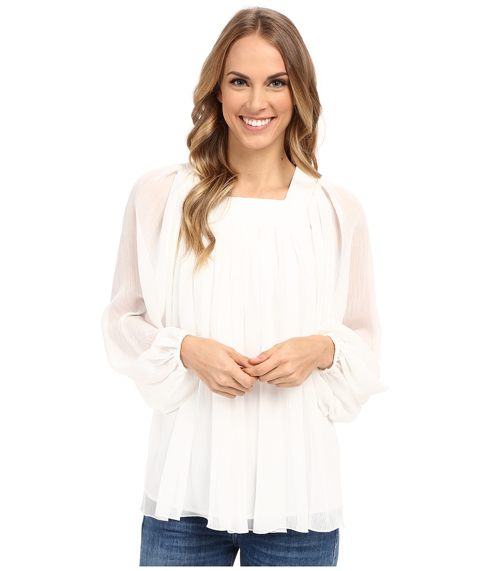 Adrianna Papell Crinkle Chiffon Pleated Blouse Ivory Womens Blouse