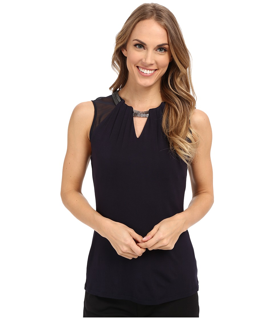 Adrianna Papell Scoop Neck Embroidery Neck Tank Top Blue Moon Womens Sleeveless