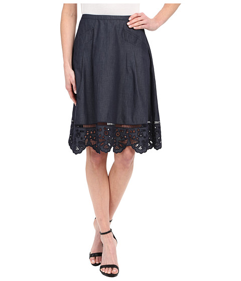 Adrianna Papell Chambray Skirt with Button Trim