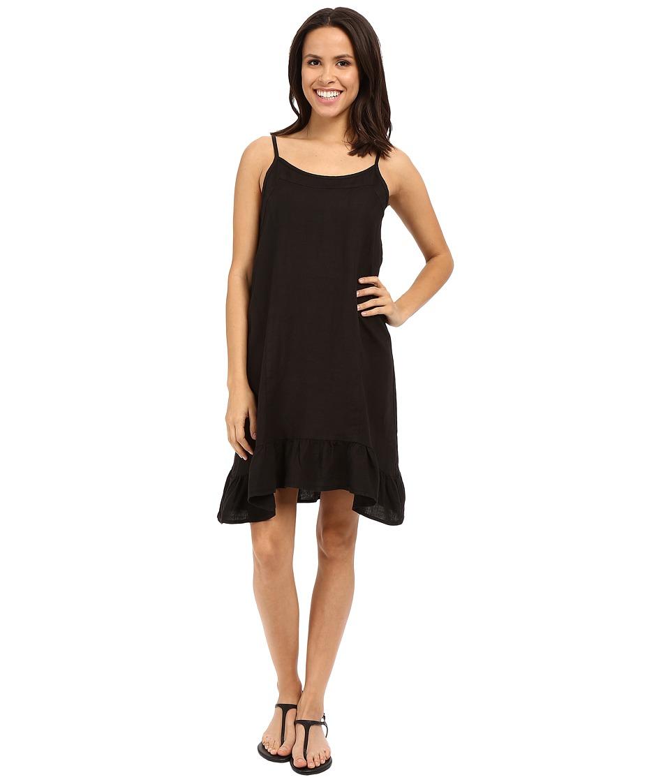 Allen Allen Linen Tank Dress Black Womens Dress