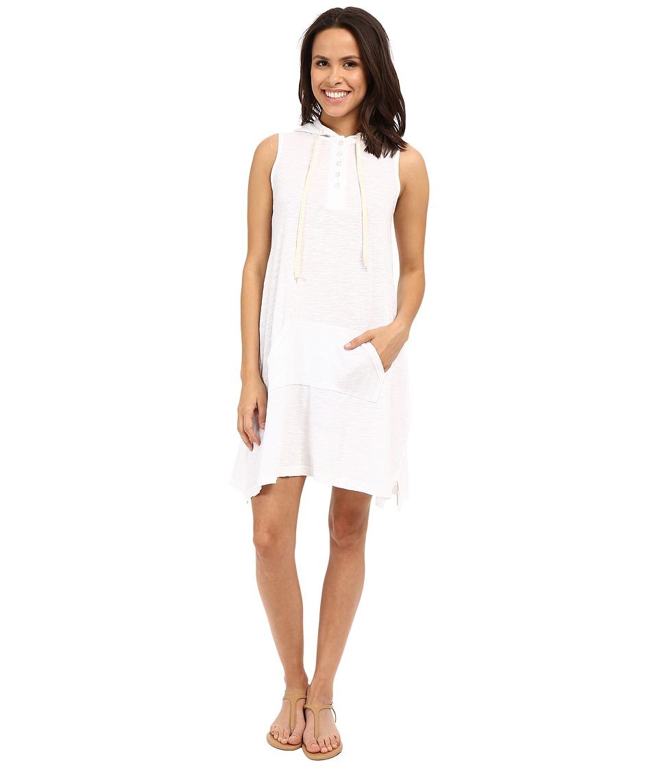 Allen Allen Sleeveless Hooded Henley Dress White Womens Dress
