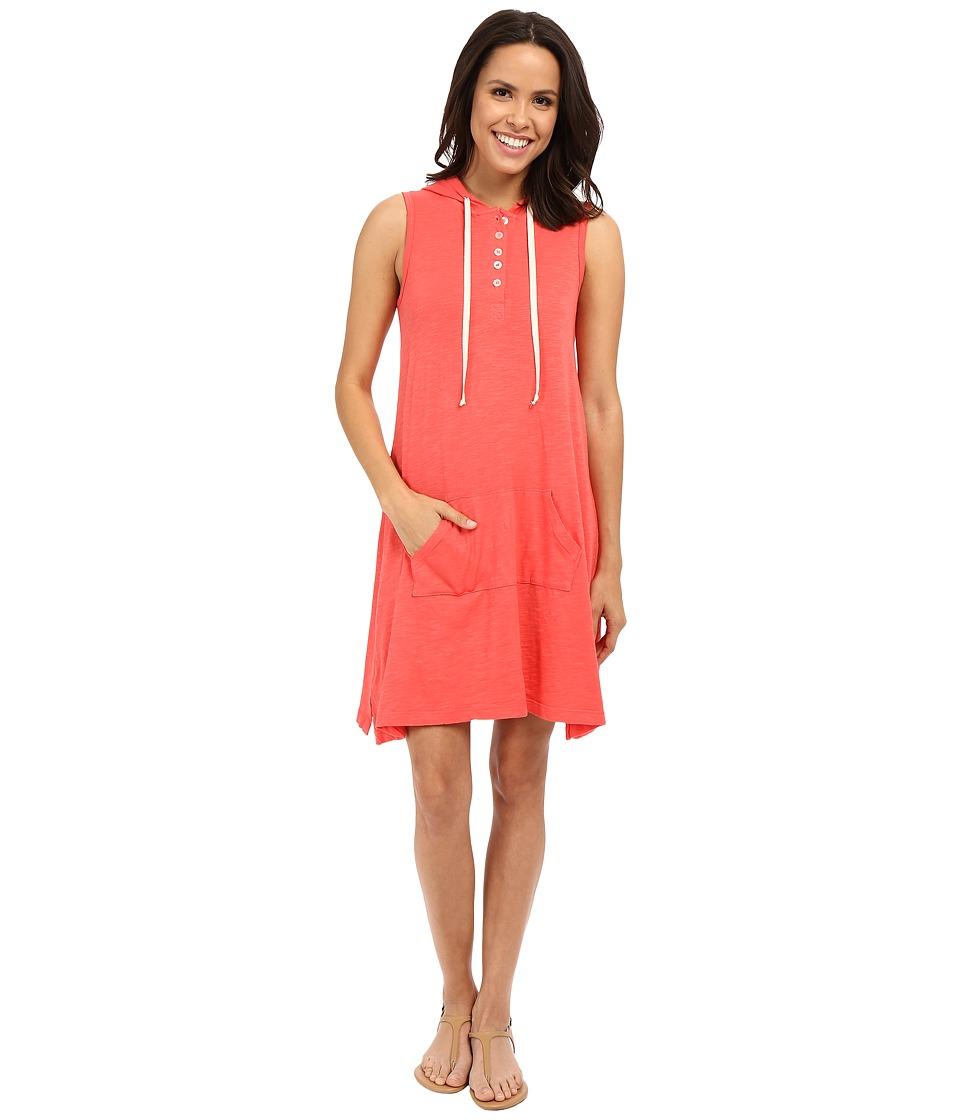 Allen Allen Sleeveless Hooded Henley Dress Begonia Womens Dress