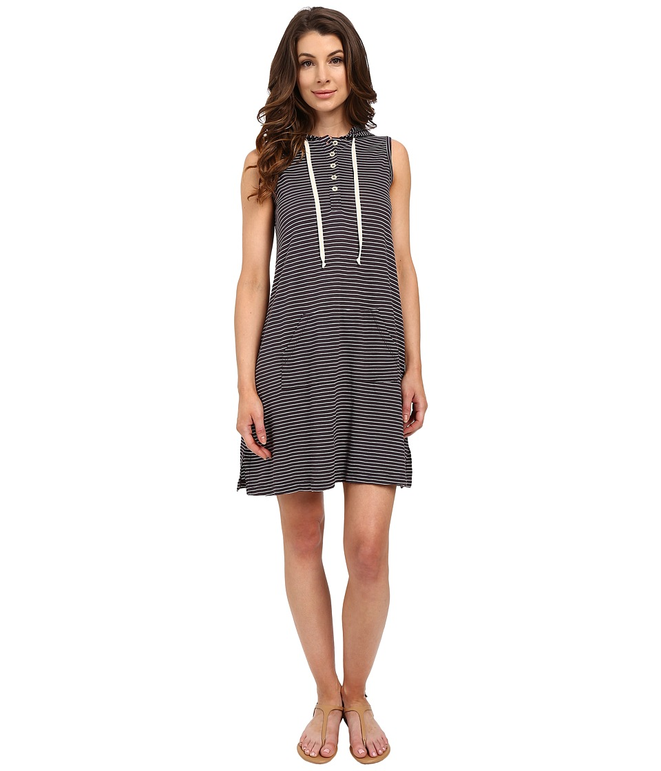 Allen Allen Stripe Sleeveless Hooded Henley Dress Jet Grey Womens Dress
