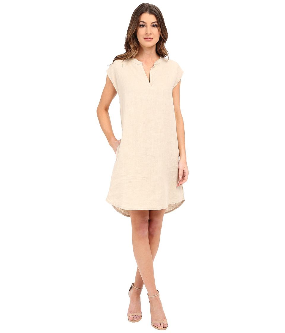 Allen Allen Sleeveless Split Neck Dress Flax Womens Dress