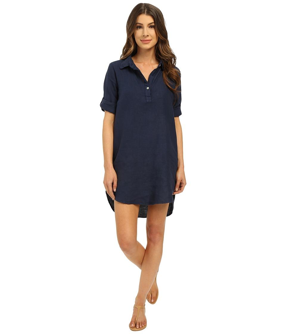 Allen Allen Roll Sleeve Shirtdress Lapis Womens Dress