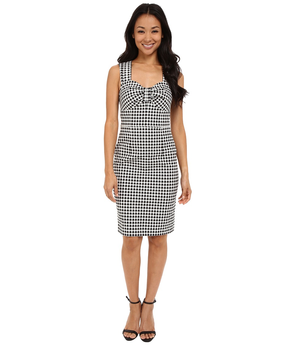 Adrianna Papell Gingham Jacquard Dress Ivory/Black Womens Dress