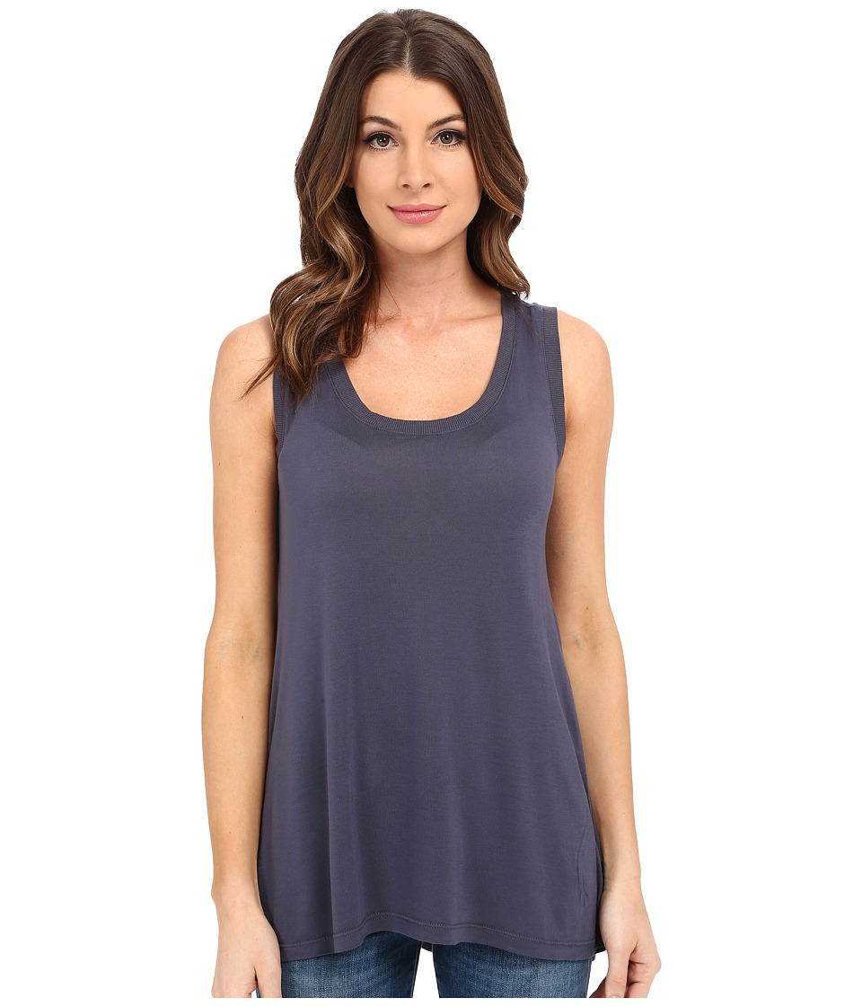 Allen Allen Hi Low Tank Top w/ Rib Trim Flint Womens Sleeveless