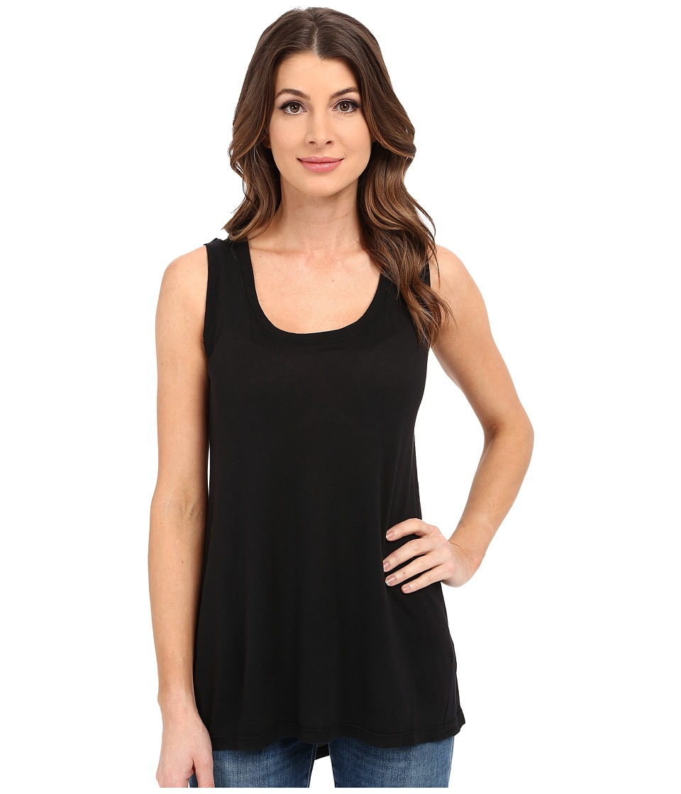 Allen Allen Hi Low Tank Top w/ Rib Trim Black Womens Sleeveless