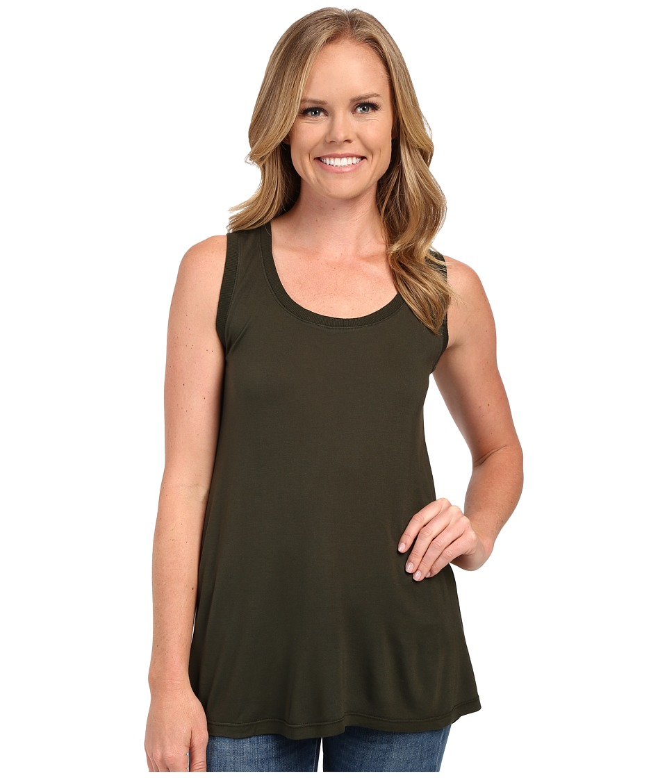 Allen Allen Hi Low Tank Top w/ Rib Trim Dark Olive Womens Sleeveless