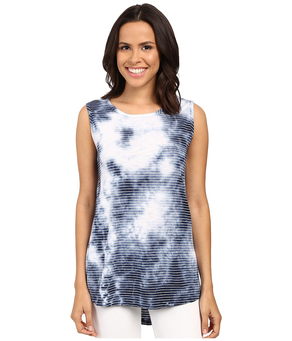 Allen Allen Crystal Wash Muscle Tank Top Lapis Womens Sleeveless