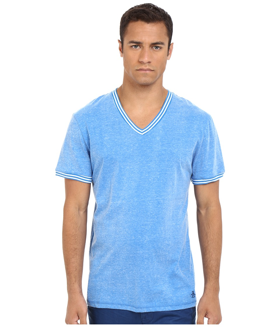 Original Penguin V Neck Short Sleeve Directoire Blue Mens Clothing