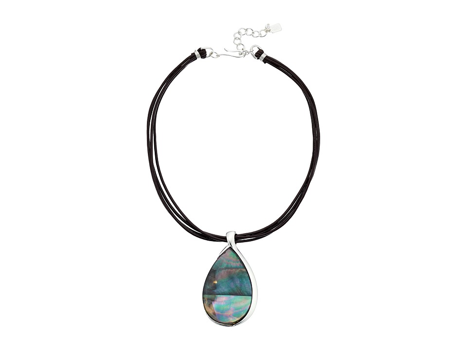 Robert Lee Morris Black Teardrop Stone Pendant Necklace Black Necklace