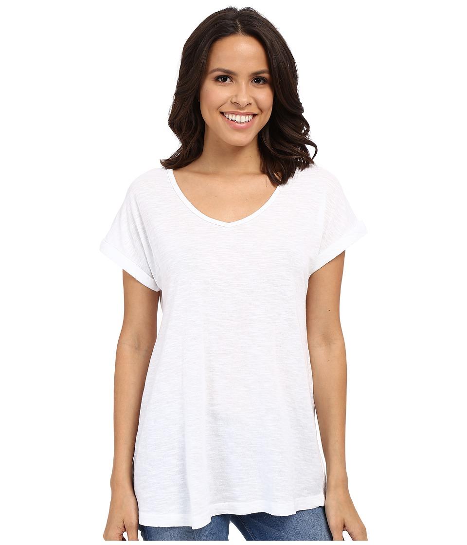 Allen Allen Short Sleeve Vee White Womens Short Sleeve Pullover