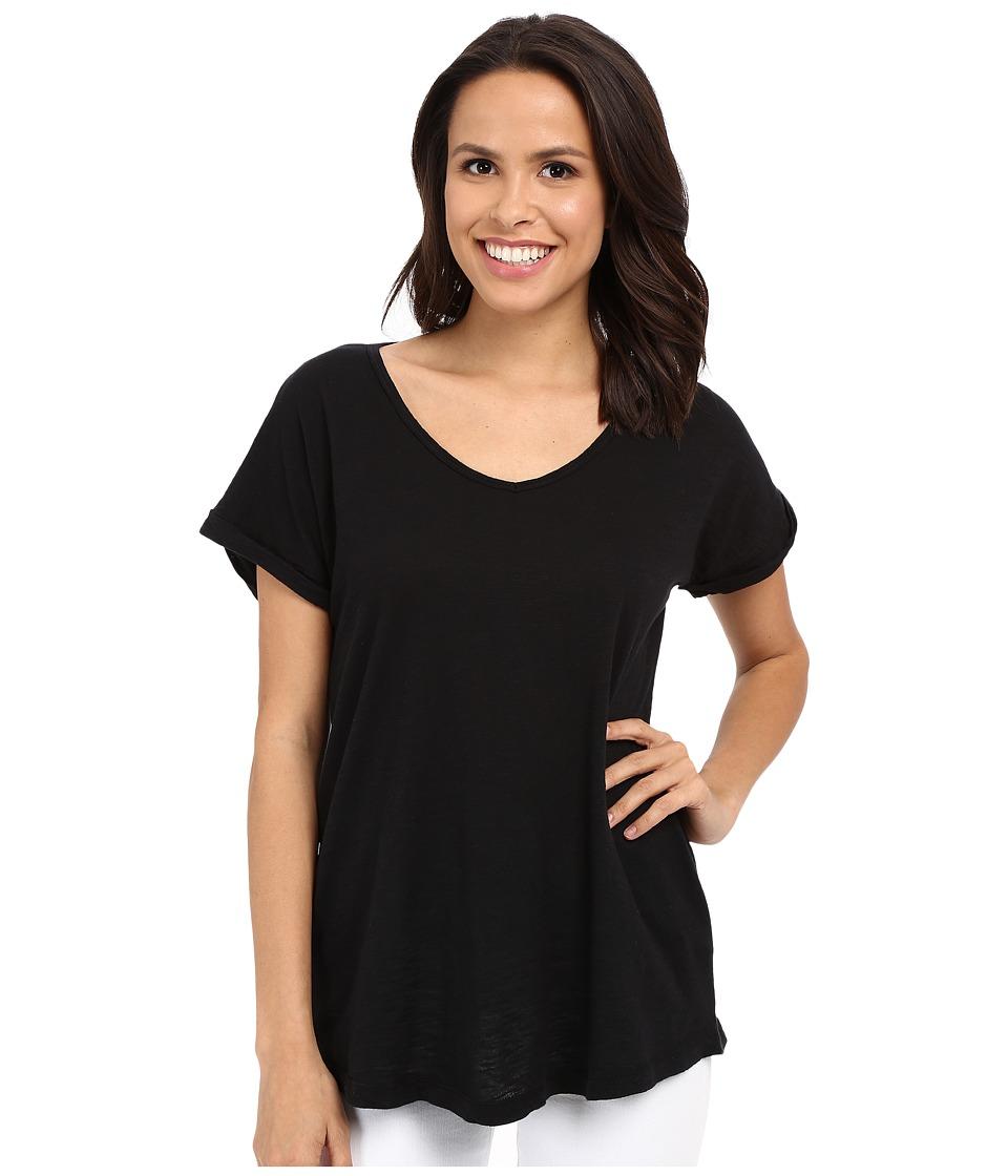 Allen Allen Short Sleeve Vee Black Womens Short Sleeve Pullover
