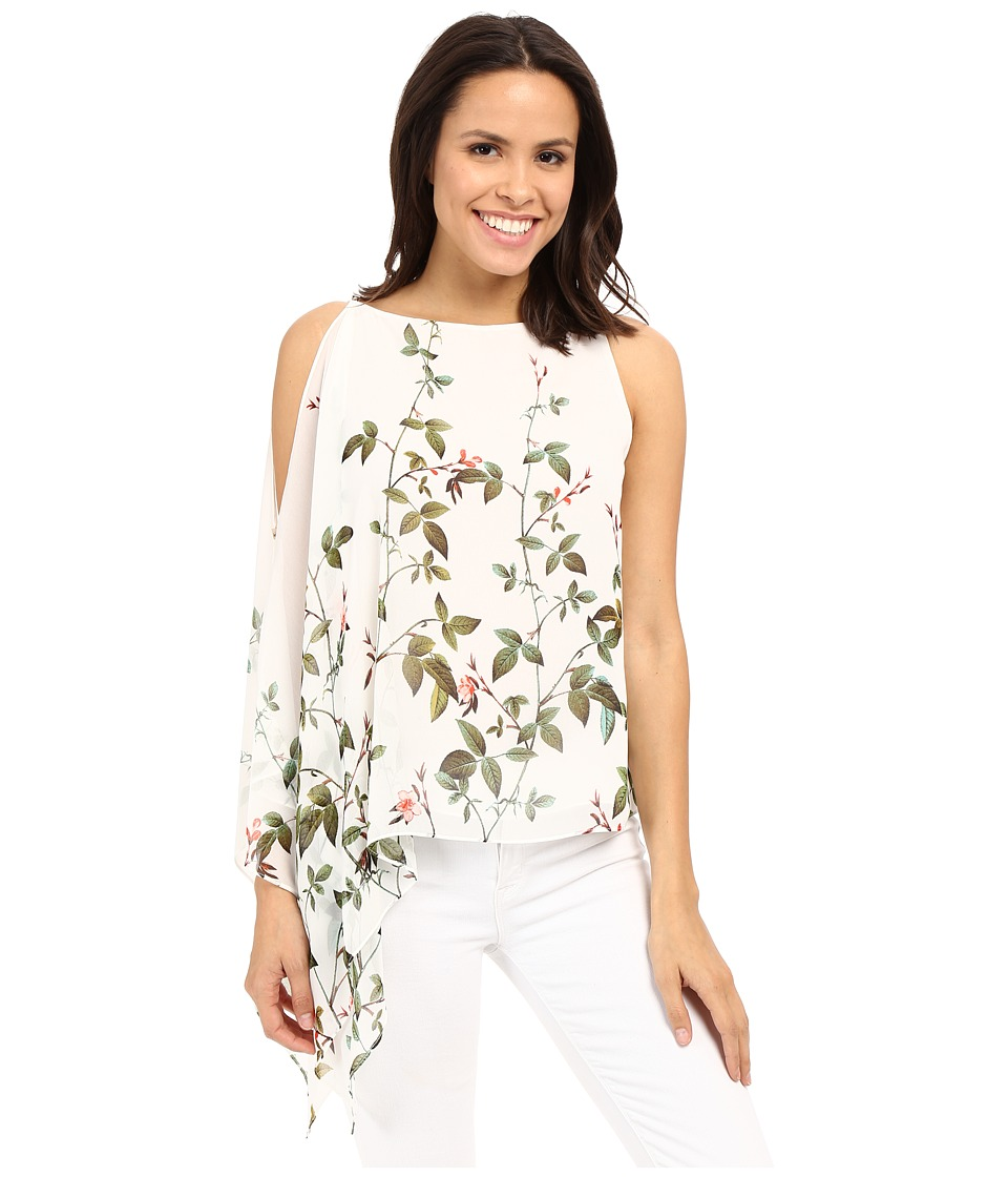 Adrianna Papell Asymmetrical Scarf Print Top Ivory Multi Womens Blouse