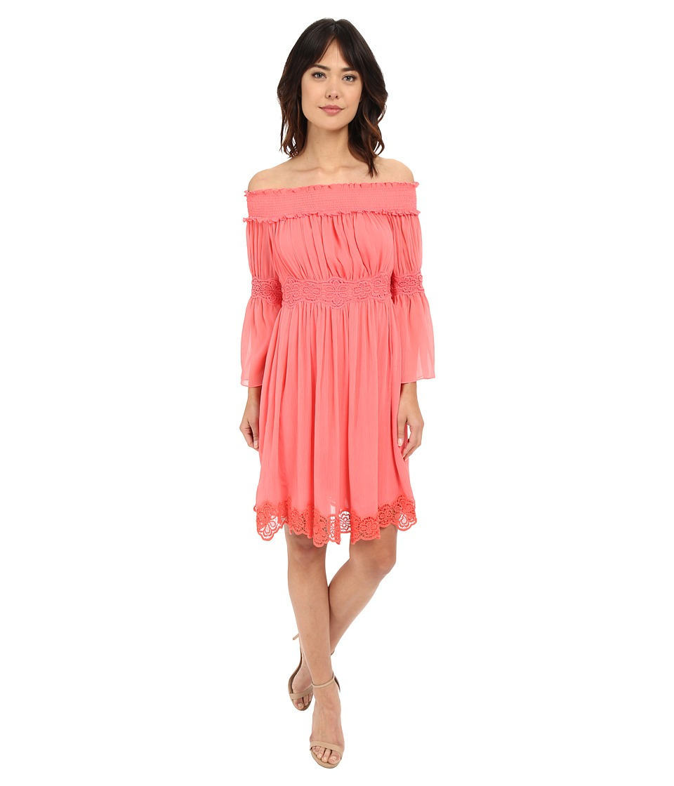 Adrianna Papell Crinkle Chiffon Dress Light Coral Womens Dress