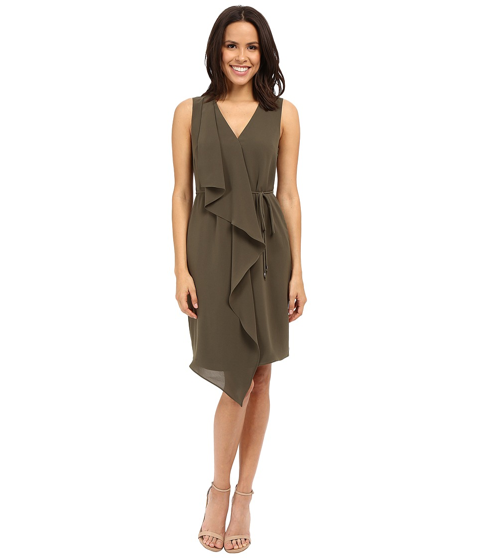 Adrianna Papell Crepe Sleeveless Draped Dress Olive Womens Dress